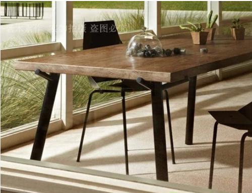法式loft复古做旧实木餐桌写字台美式简欧法式铁艺书桌茶几咖啡厅