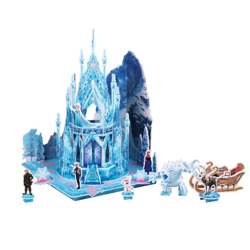 迪士尼冰雪奇缘艾莎安娜公主立体场景拼图儿童益智玩具儿童节礼物