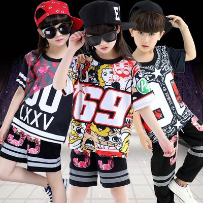 儿童爵士舞演出服男女童嘻哈炫酷街舞表演服装幼儿数字现代舞蹈服
