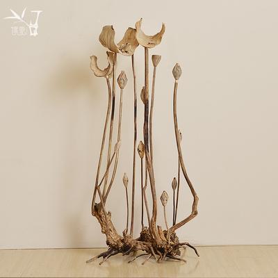境泉 木雕工艺品荷花 东南亚客厅家居软装饰品新中式高档玄关摆件