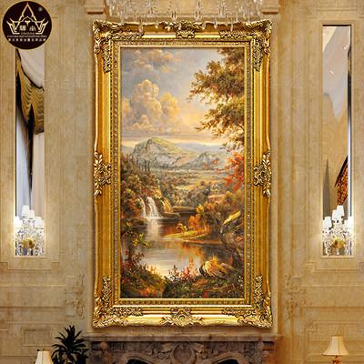 油画山水手绘欧式风景油画装饰画走廊过道玄关竖版正品聚宝盆壁画