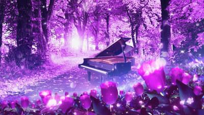 l097唯美紫色花朵梦幻森林钢琴高端婚礼led大屏幕背景视频vj素材
