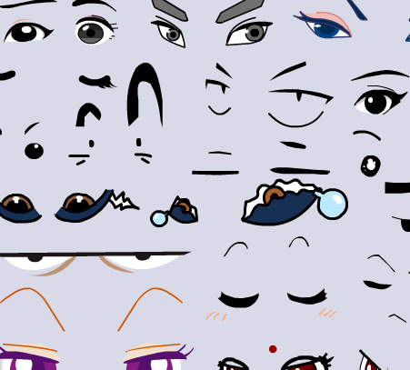 flash动画素材动态角色古代现代人物五官表情嘴巴眼睛矢量素材