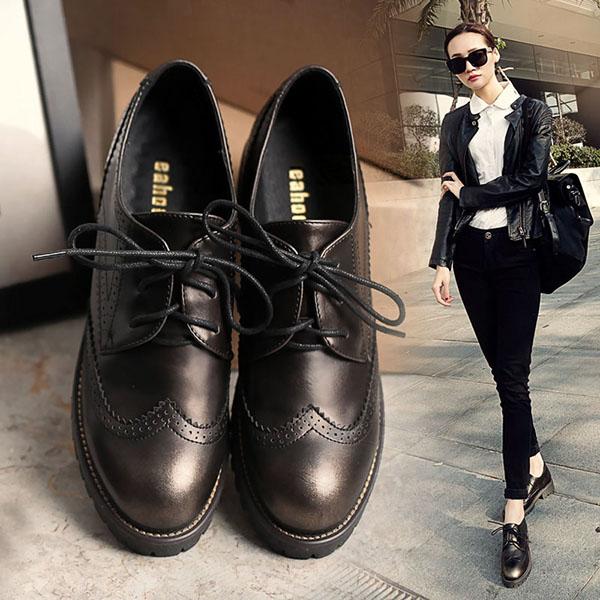 春夏英伦风女鞋布洛克粗跟学院风复古小皮鞋中低跟系带牛津鞋单鞋