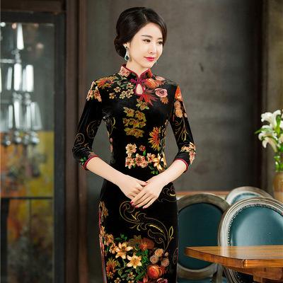 金丝绒旗袍图片