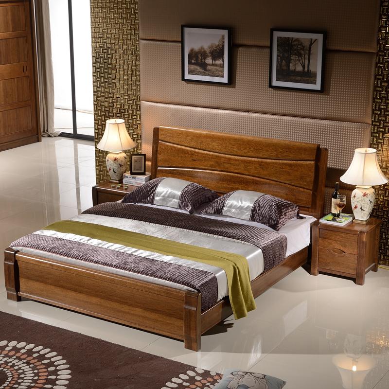 00 ☆ 大自然 实木家具 榉木家具 实木床榉木床双人床核桃色广州rf 61