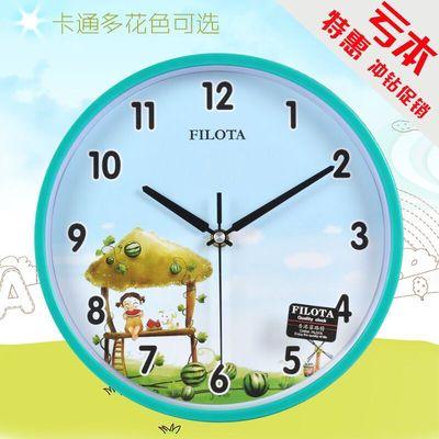 卡通可爱儿童房静音挂钟表创意圆形客厅石英钟简约现代卧室钟表
