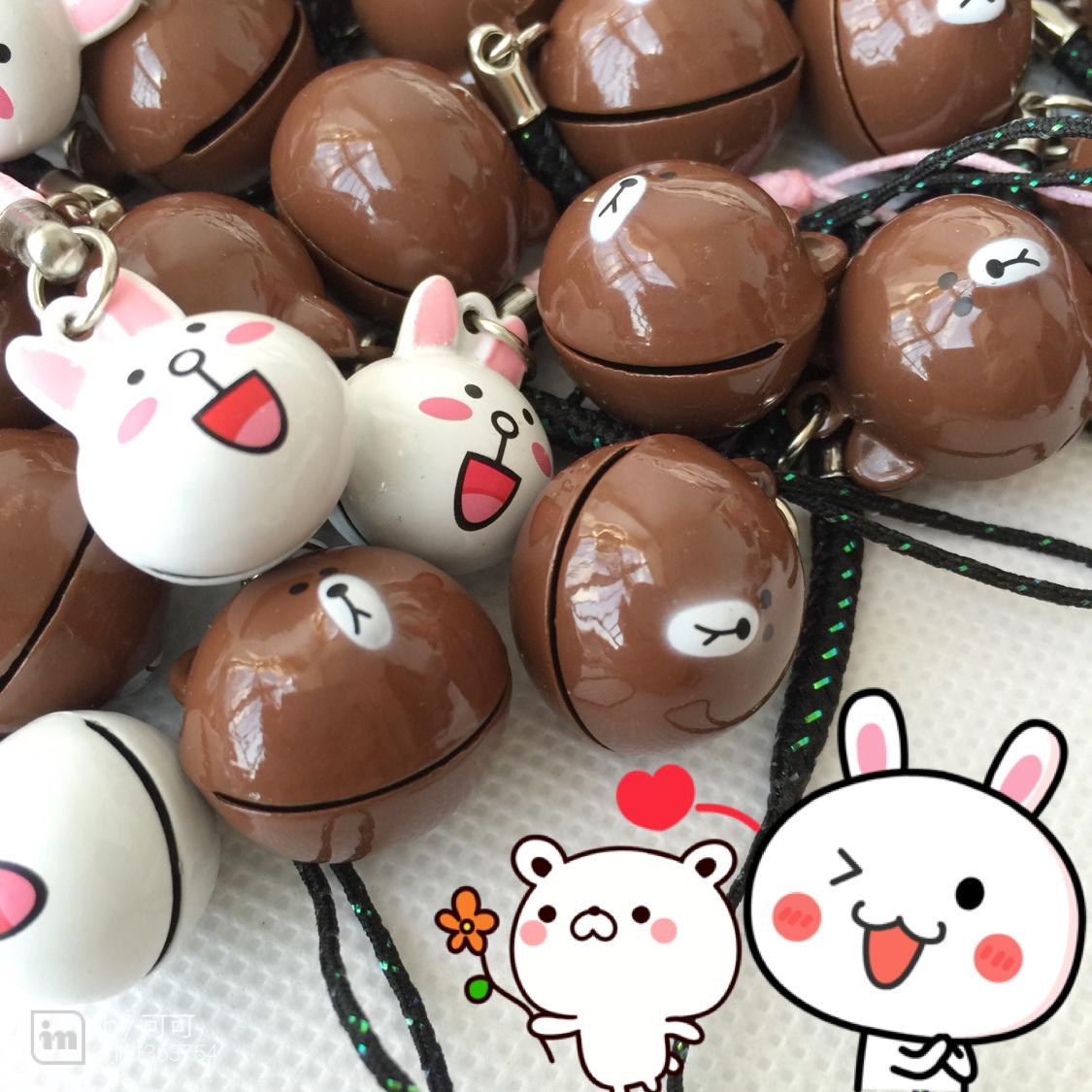 韩国line连我可爱布朗熊可妮兔铃铛小挂件金属手机链钥匙包挂