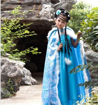 儿童古装外披风斗篷羽毛皇后公主仙女装演出服装古代毛毛春秋冬季