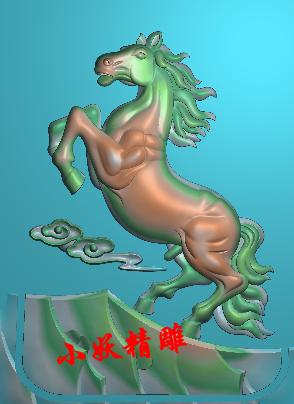 小妖精雕图灰度图浮雕artcam玉雕图雕刻46牌挂件 马踏祥云 马