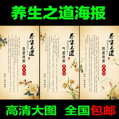 中医养生文化海报 养生馆美容院宣传挂图 中医理疗手法画海报定制