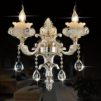 欧式玉石水晶壁灯锌合金客厅背景墙卧室床头过道单双头蜡烛壁灯具