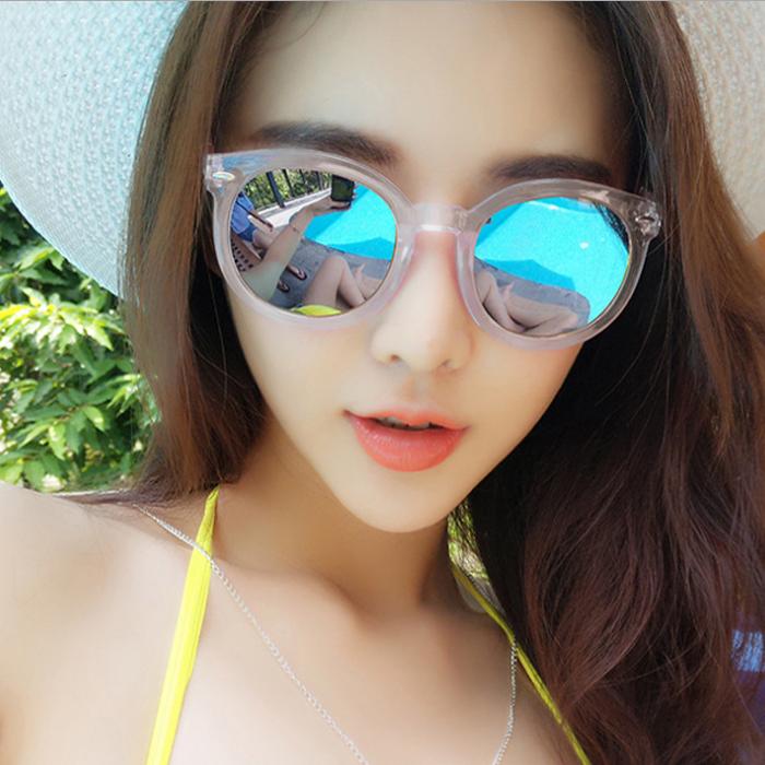 韩国时尚复古潮男女士太阳镜酷明星款彩膜圆脸圆形墨镜反光眼镜
