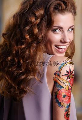 花臂纹身贴玫瑰天使眼纹身贴指南针 欧美school风格 花臂纹身.jp