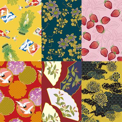 日本传统古典图案 日式和风装饰花纹 纹饰图案背景矢量图设计素材