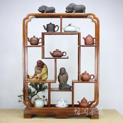 博古架多宝阁小号桌面中式明清仿古实木茶壶古董置物摆架红木家具