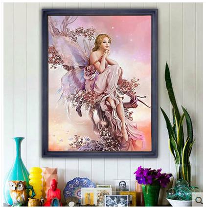 新款5d鉆石畫滿鉆魔方蝴蝶精靈客廳臥室十字繡風景磚石繡卡通爆款