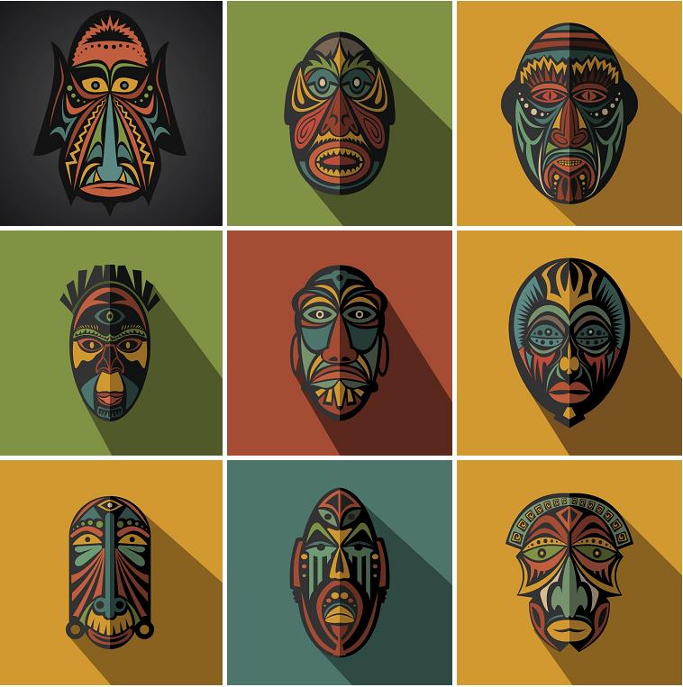 特价★复古创意彩色面具脸谱背景图案变脸装饰