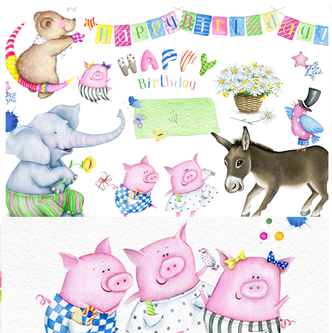 &清新手绘水彩可爱动物大象驴小鸟猪生日卡片