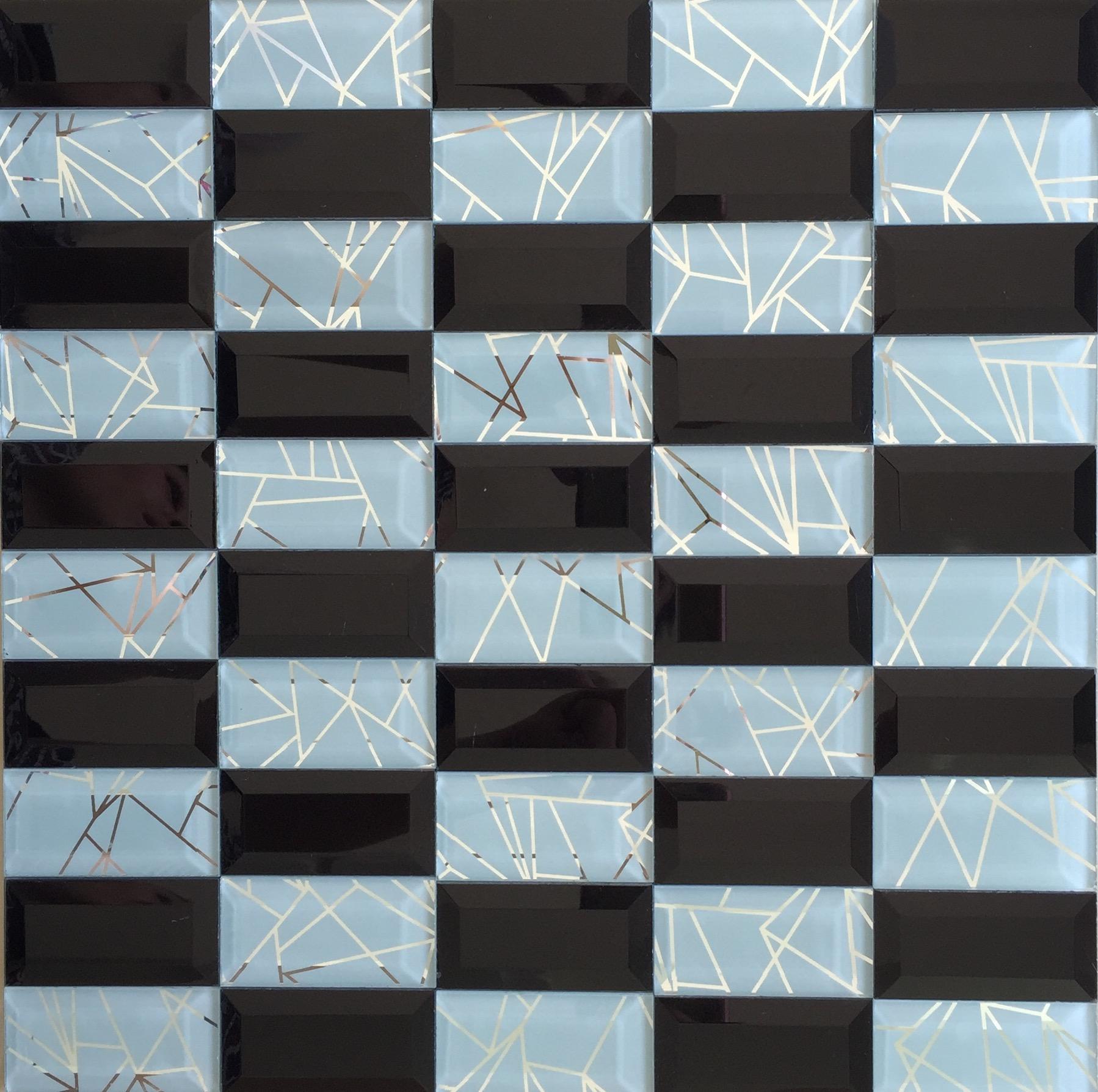 磨边无缝长条形马赛克瓷砖 ktv柱子背景墙 玻璃镜面马赛克特价