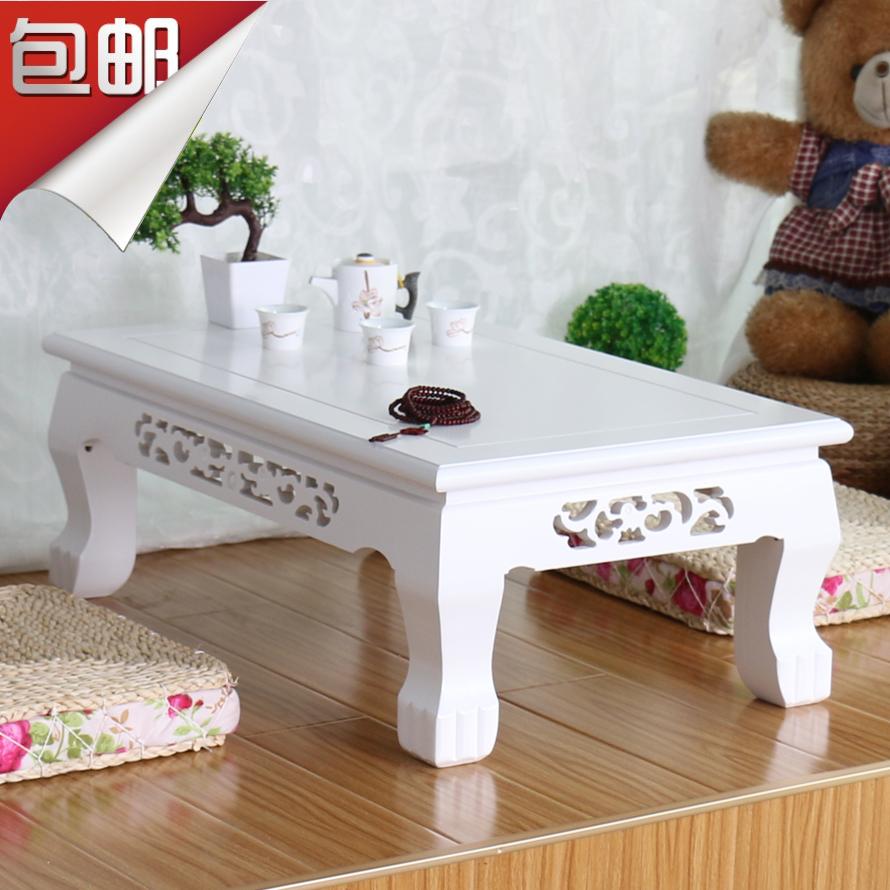 包邮实木田园飘窗桌白色欧式榻榻米茶几日式地台桌炕