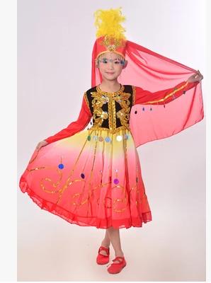 2016新款儿童塔吉克族维族舞蹈服装少儿表演服塔塔尔