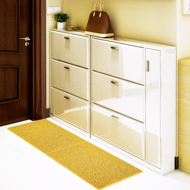 靠墙三翻斗鞋柜木制板白色钢琴烤漆玄关走廊鞋柜架