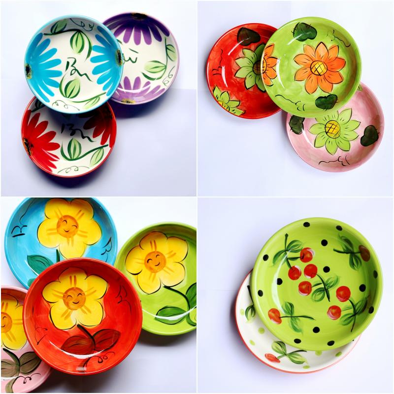瑕疵特价 创意手绘樱桃陶瓷彩色盘子碟子家用点心水饺盘个性