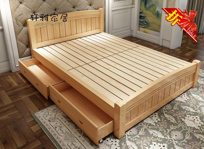 简约现代实木床白色成人床简单双人床低价单人床儿童