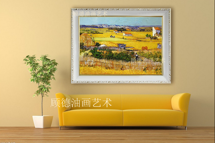 纯手绘欧式梵高临摹世界名画麦田丰收风景油画挂客厅玄关走廊定制