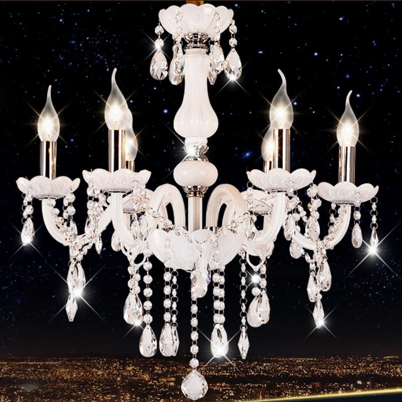 客廳燈 歐式田園白色蠟燭水晶吊燈 溫馨臥室燈飾餐廳書房水晶燈具