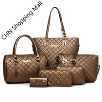 6 PCS/Set Women Bag Crocodile Pattern Composite Bag Handbags
