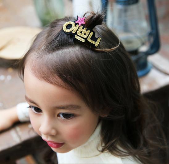 韩国女童头饰 学生发饰 时尚韩文字母边夹 美女宝宝发夹 亲子配饰