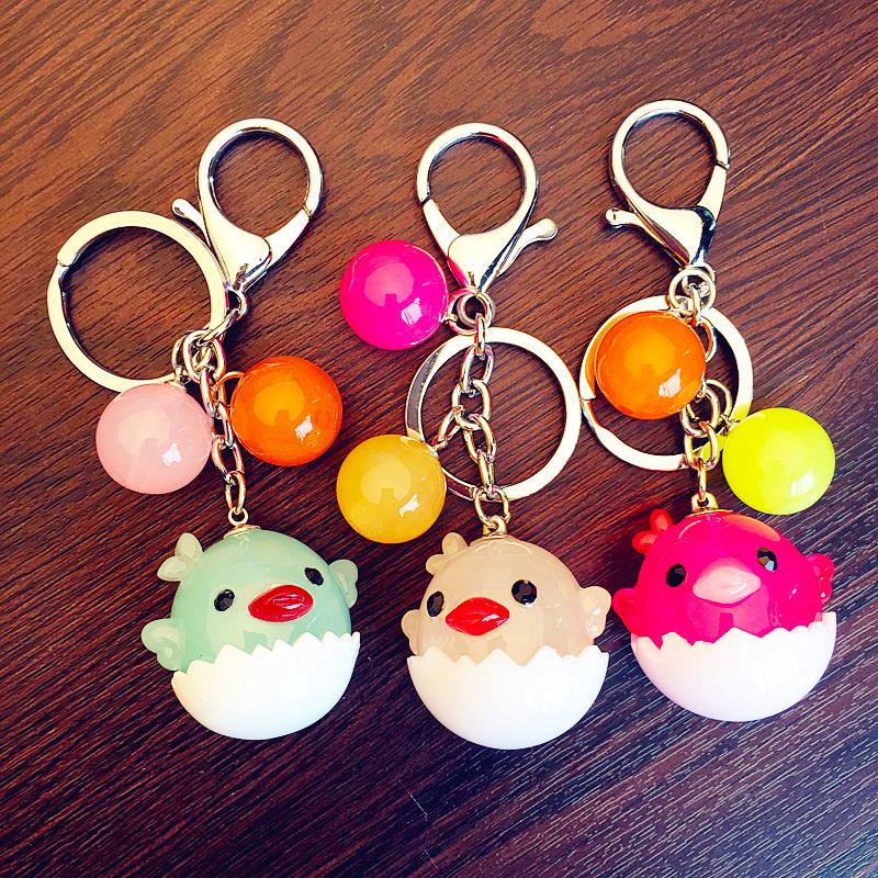 韩国代购可爱蛋壳小鸡汽车钥匙扣 果冻色亚克力珠钥匙圈包包挂件