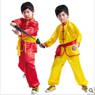 2015款儿童武术服装配腰带儿童演出服装 男童少林武功衣服 练功服