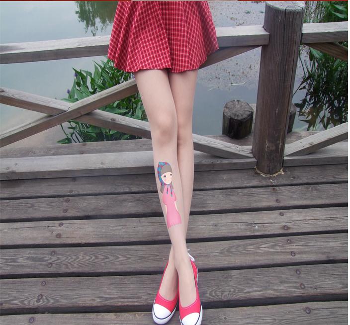 印花卡通美女照片纹身袜超薄夏季学生丝袜连裤袜加工