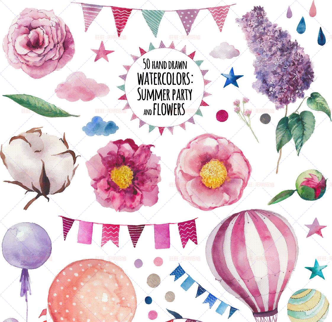 png免扣抠eps矢量图海报卡片请柬设计素材热气球花