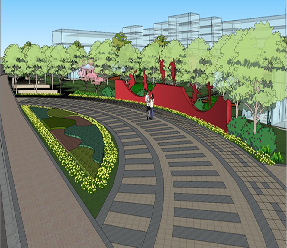 体育公园人防广场景观设计su模型旱冰跑道入口休闲图片
