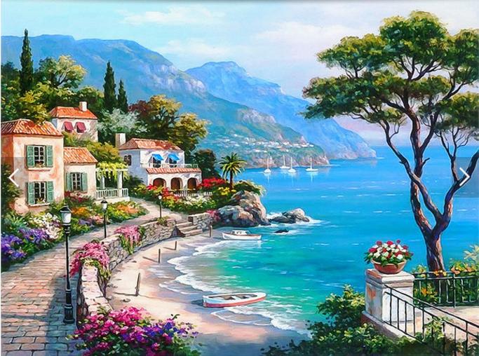 花园风景油画背景墙纸壁画客厅卧室欧洲小镇3d墙布
