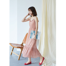 Han Fan 2018 spring women's pure color fungus stitching pleated chiffon long dress / dress / skirt