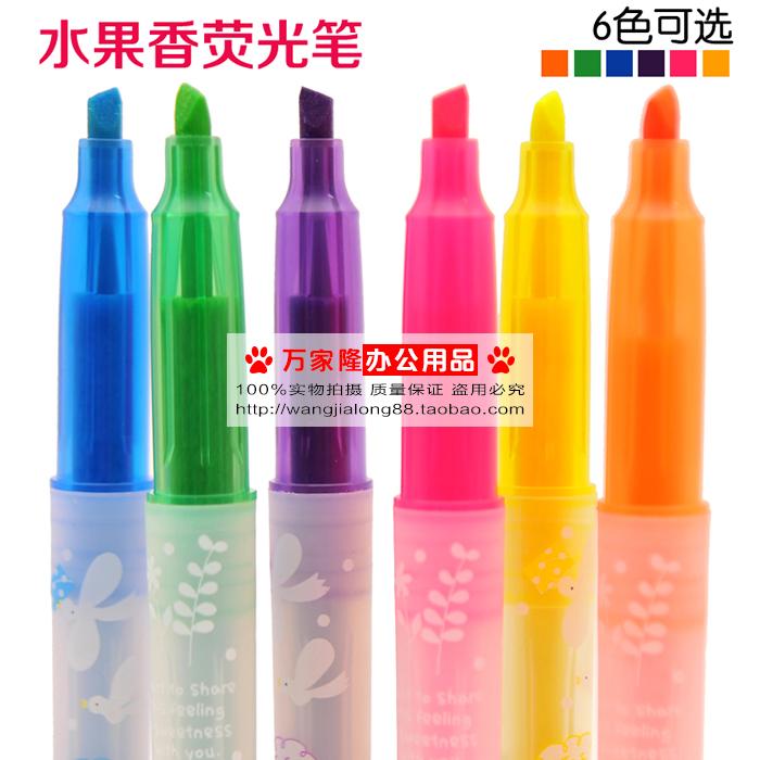 6色水果香荧光笔学生标记荧光笔划重点醒目笔彩色