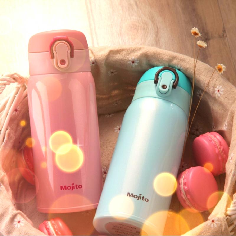 mojito日本保温杯女士可爱小学生儿童保温瓶超轻水杯