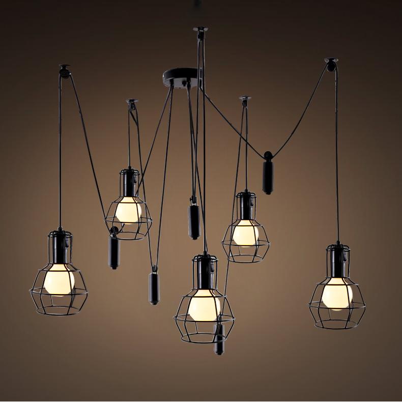 创意个性餐厅客厅灯北欧式吧台升降复古工业仿古吊灯
