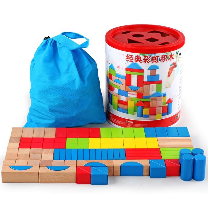 粒木头制拼图玩具大号桶装积木儿童益智早教男女孩1