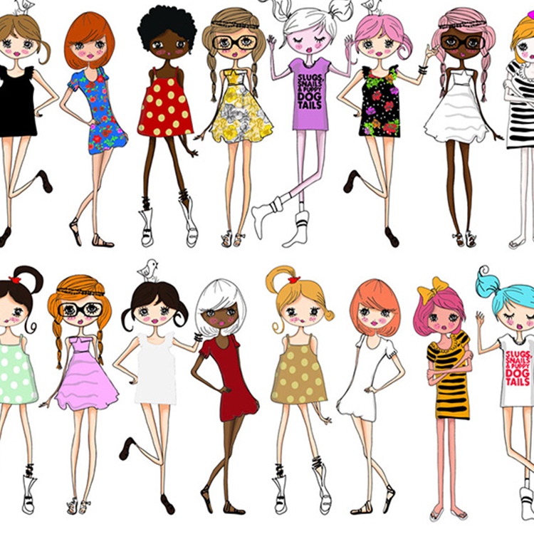 时尚卡通美女矢量图 插画卡通素材