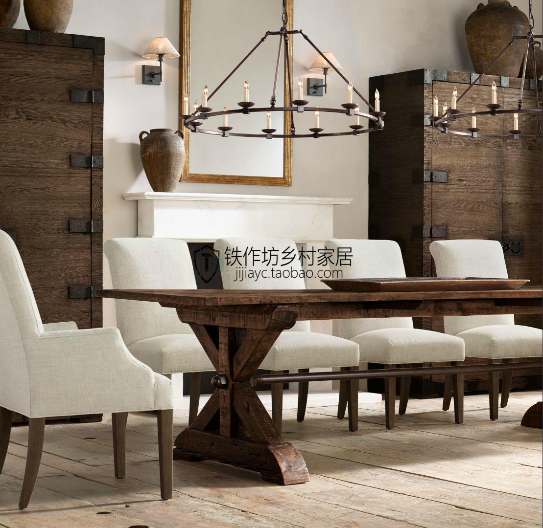美式乡村实木餐桌 现代简约长方形饭桌