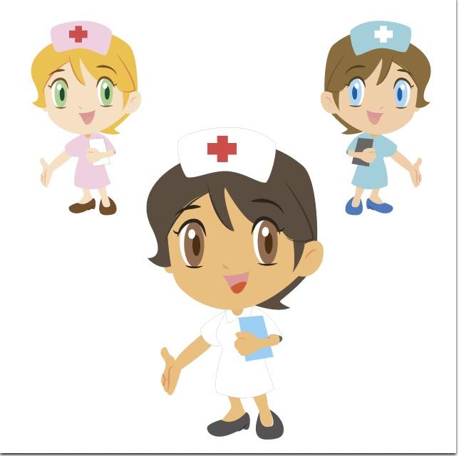 新★扁平化可爱卡通医院医疗 美女护士图案背景宣传海报设计素材