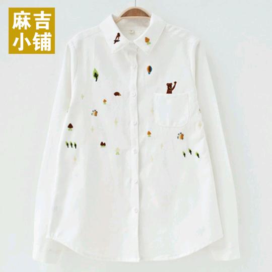 春秋季休闲森林系可爱童趣动物刺绣纯棉白长袖女衬衫
