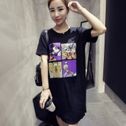 2016 new Korean large code all-match cartoon printed T-shirts in a long sleeved T-shirt girl summer blouse tide