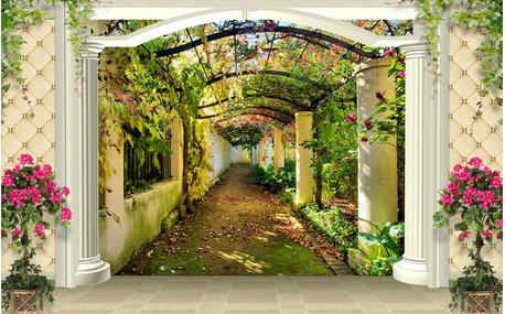 无缝大型3d立体软包花园壁画空间视觉大树竹林过道背景墙壁纸餐厅